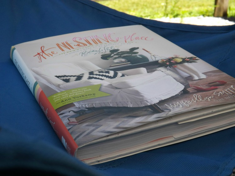 book on blue camp-chair